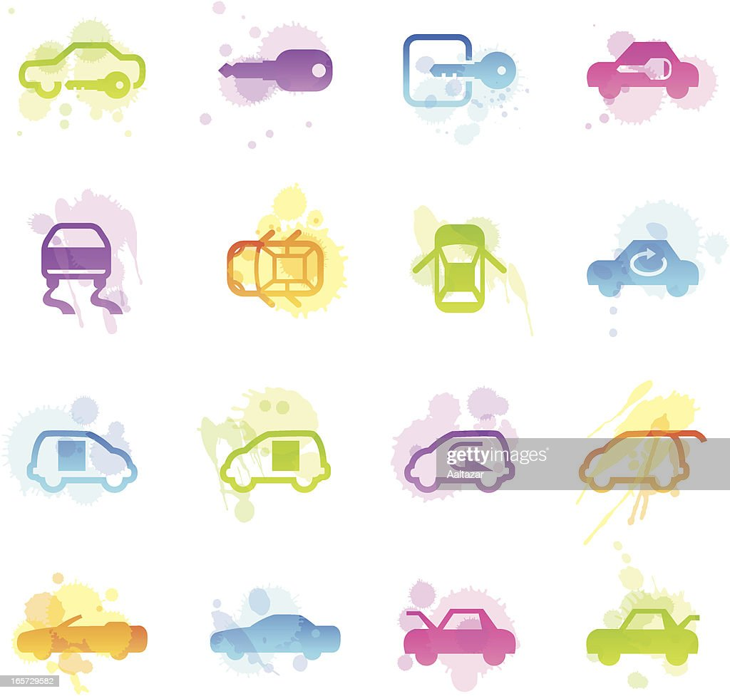 Stains Icons - Car Control Indicators : stock illustration