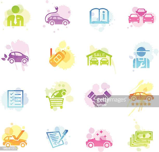 stains icons - car dealership - car ownership stock illustrations, clip art, cartoons, & icons