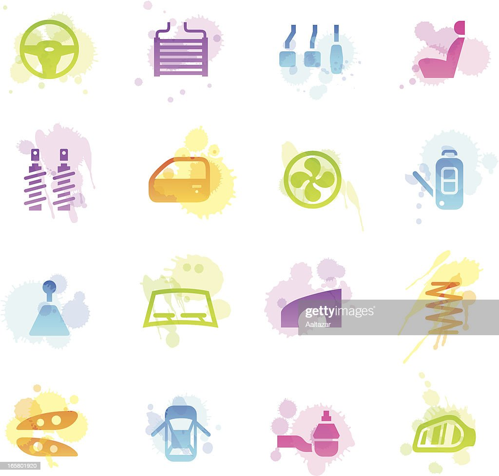 Stains Icons - Car Parts : stock illustration