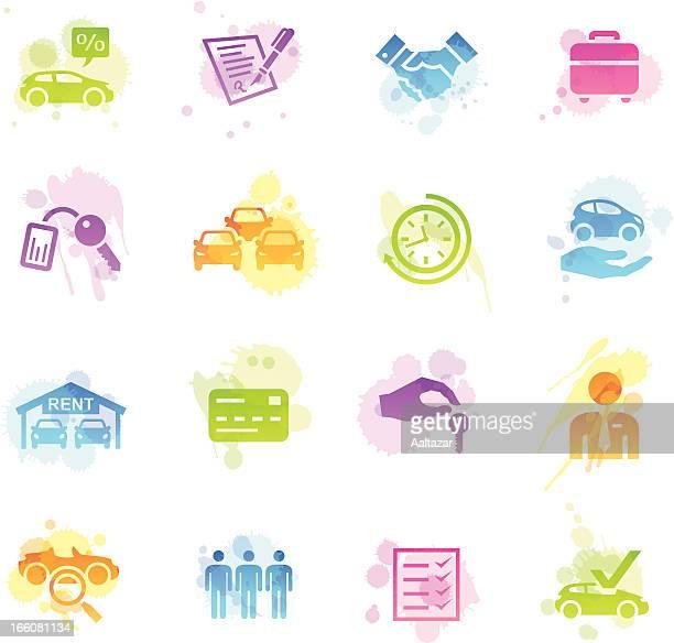 ilustraciones, imágenes clip art, dibujos animados e iconos de stock de manchas iconos de alquiler de automóviles - alquiler de coche