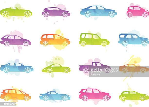 stains icons - car silhouettes - suv stock illustrations, clip art, cartoons, & icons