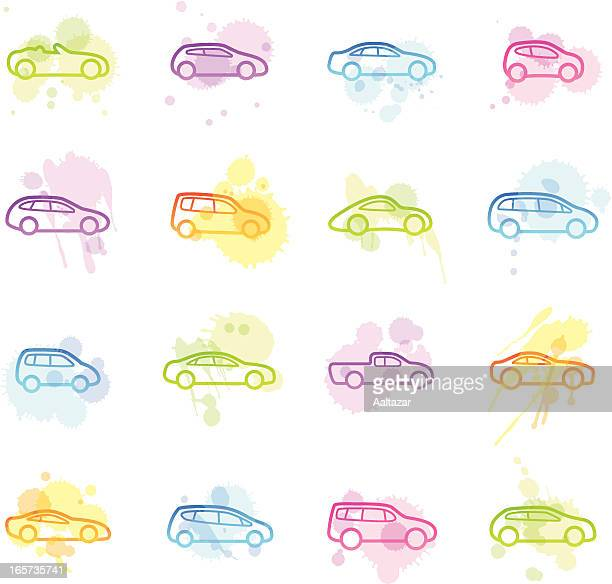 stains icons - cars - hatchback stock illustrations, clip art, cartoons, & icons