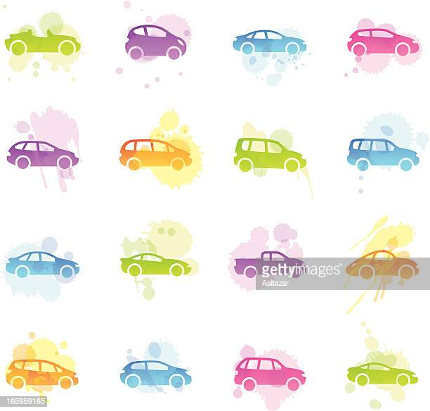 stains icons - cartoon cars - hatchback stock illustrations, clip art, cartoons, & icons