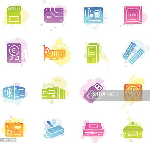 stains icons - computer parts - power supply box stock illustrations, clip art, cartoons, & icons