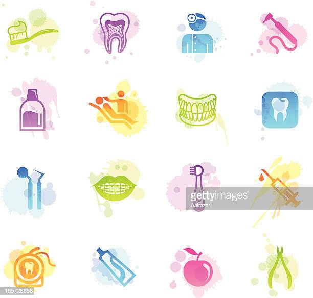 stains icons - dental care - mouthwash stock illustrations, clip art, cartoons, & icons