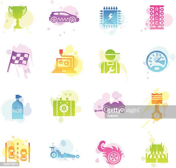 stains icons - drag racing - street racing stock illustrations, clip art, cartoons, & icons
