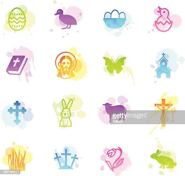 stains icons - easter - dirty easter stock illustrations
