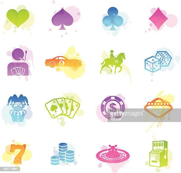 ilustraciones, imágenes clip art, dibujos animados e iconos de stock de manchas iconos de juegos de azar - fajo de billetes