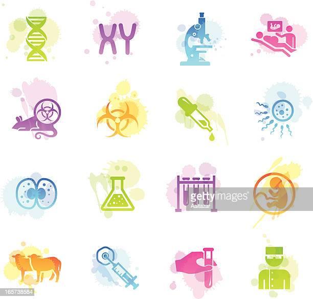 シミアイコン-ジェネティックス&クローン - 染色体点のイラスト素材/クリップアート素材/マンガ素材/アイコン素材