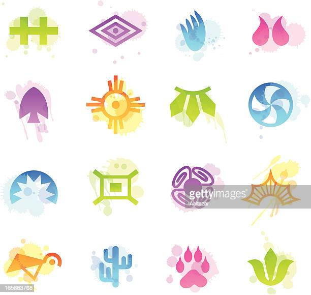 stains icons - indian tribal - cherokee culture stock illustrations, clip art, cartoons, & icons