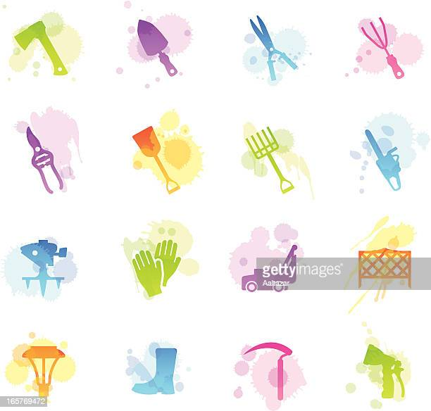 stains icons - lawn & garden tools - harrow agricultural equipment stock illustrations, clip art, cartoons, & icons