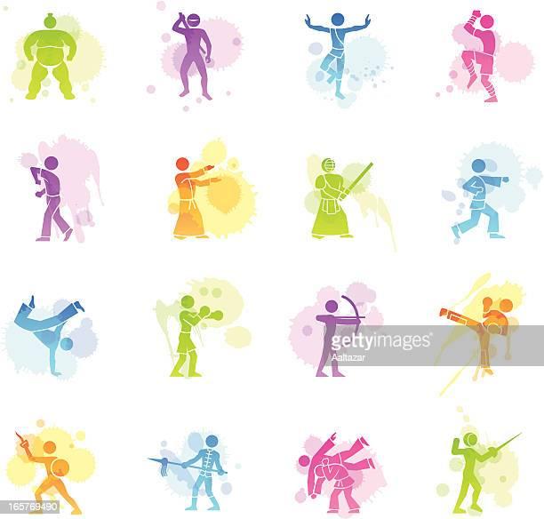 ilustrações de stock, clip art, desenhos animados e ícones de manchas ícones-artes marciais - capoeira