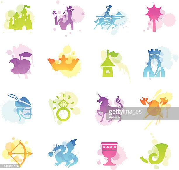 stains icons - medieval fairytale - unicorn horn stock illustrations, clip art, cartoons, & icons