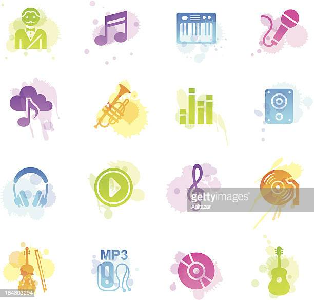 stains icons - music - bass instrument stock illustrations, clip art, cartoons, & icons