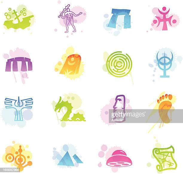 stains icons - mysteries - megalith stock illustrations, clip art, cartoons, & icons