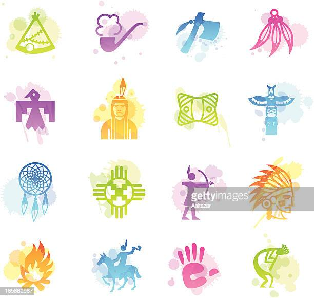 stains icons - native american - cherokee culture stock illustrations, clip art, cartoons, & icons