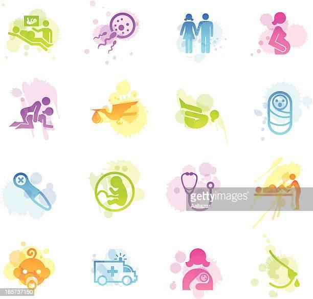 ilustraciones, imágenes clip art, dibujos animados e iconos de stock de manchas iconos de embarazo & parto - lactancia materna