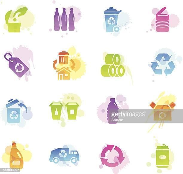 ilustraciones, imágenes clip art, dibujos animados e iconos de stock de manchas iconos-reciclado - tirar basura