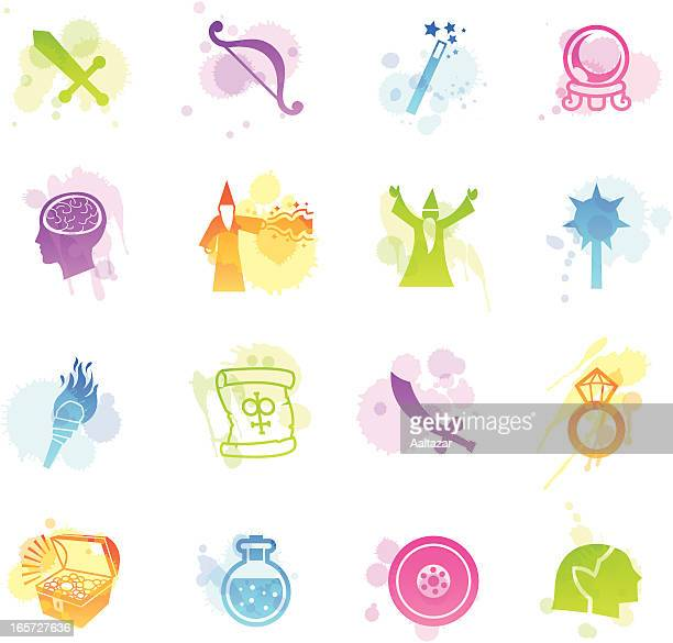 stains icons - role playing games - wizard stock illustrations, clip art, cartoons, & icons