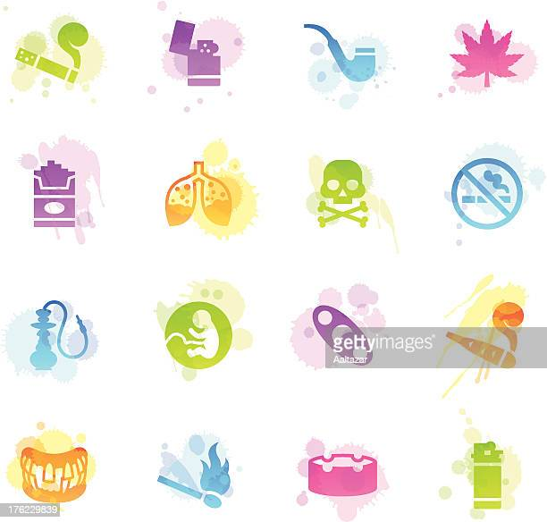 stains icons - smoking - crack pipe stock illustrations