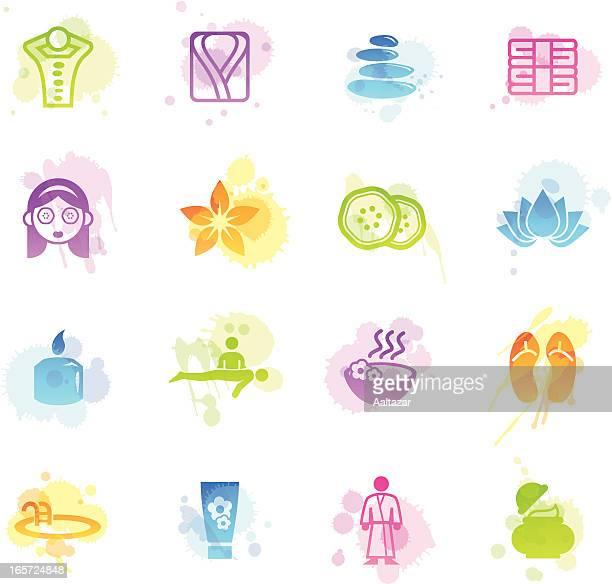 ilustrações de stock, clip art, desenhos animados e ícones de manchas & ícones de spa de bem-estar - massagista