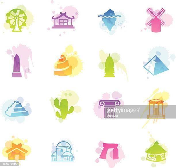 ilustrações de stock, clip art, desenhos animados e ícones de manchas ícones-viagens - megalith