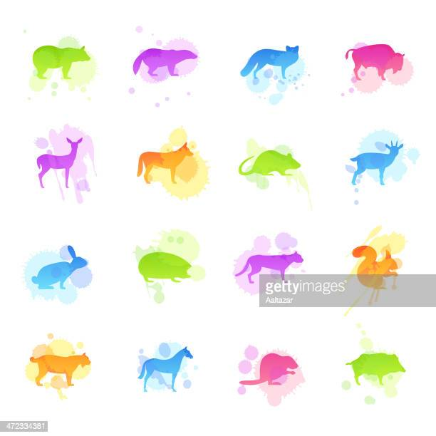 stains icons - wild animals - african buffalo stock illustrations, clip art, cartoons, & icons