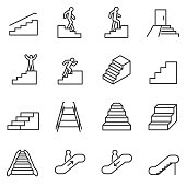 Staircase icons set. Line with Editable stroke