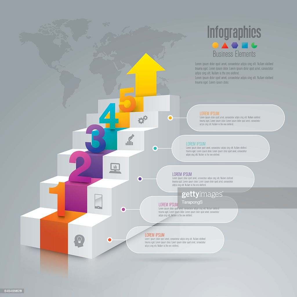 Staircase infographic design vector and business icons.