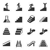 Staircase, monochrome icons set