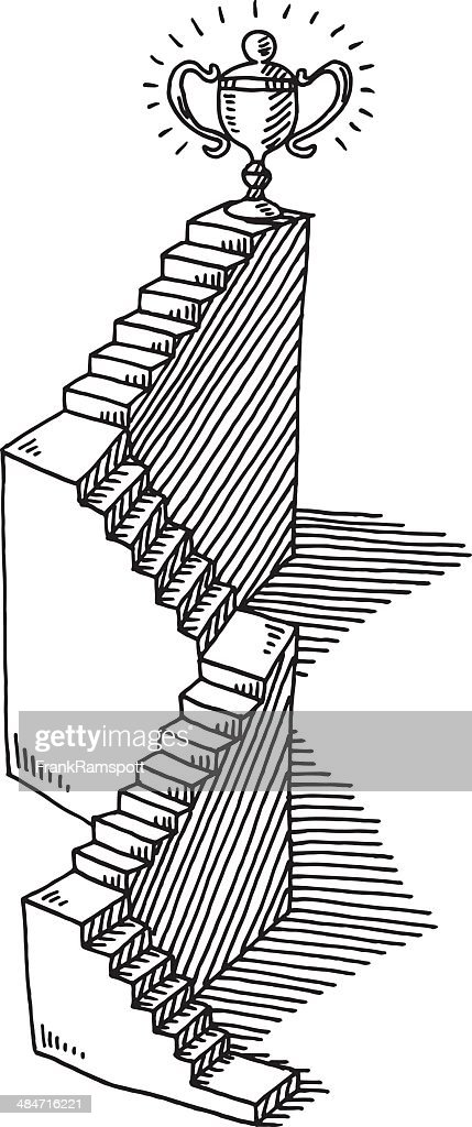 Staircase Success Trophy Drawing : stock illustration
