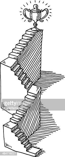 Staircase Success Trophy Drawing