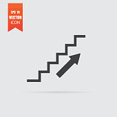 Stairs icon in flat style isolated on grey background.