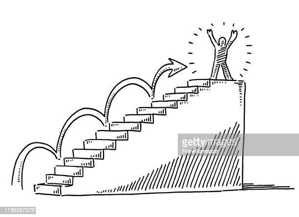 ilustraciones, imágenes clip art, dibujos animados e iconos de stock de escalera al éxito figura humana en el dibujo superior - escalera