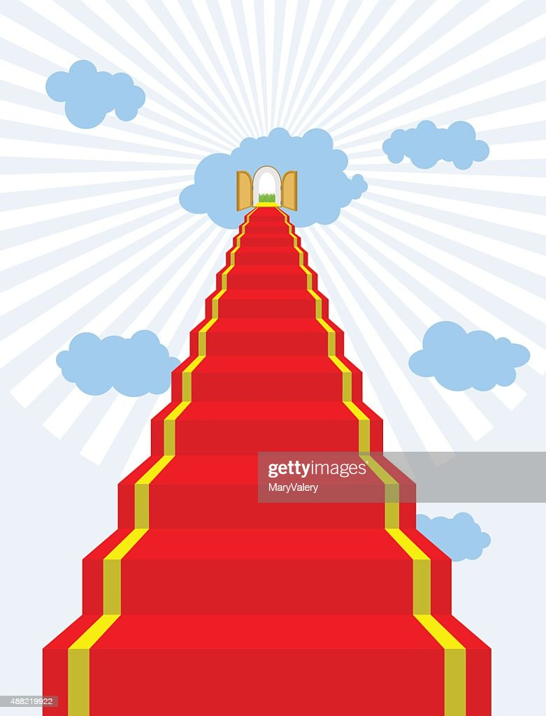 Stairway to paradise. Red carpet into sky. Gates of paradise.
