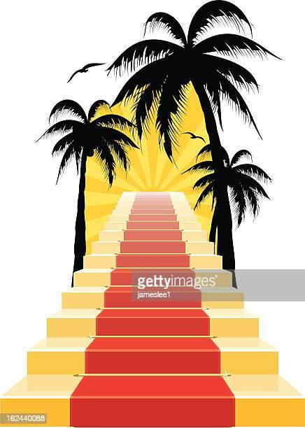 stockillustraties, clipart, cartoons en iconen met stairway to paradise - tropical tree
