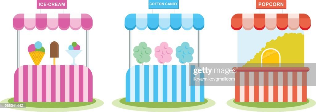 Stall with ice cream, sweet wadding, popcorn, children's amusement park