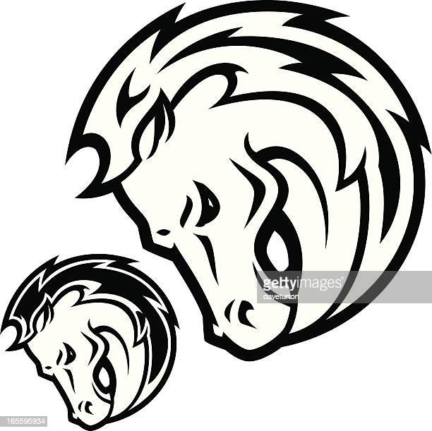 stallion head b&w - animals charging stock illustrations, clip art, cartoons, & icons