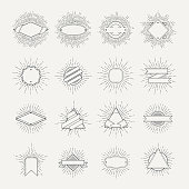 Stamp and badges collection. Different shapes and sunburst frames. Vintage monochrome banners and vector ribbons