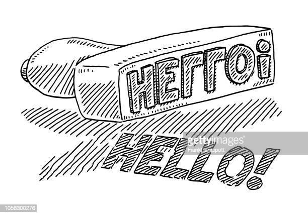 Stempel Hallo Text zeichnen