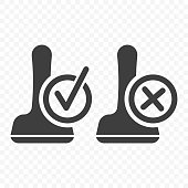 Stamp icon - approval and rejection. Vector on transparent background.