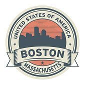 Stamp or label with name of Boston, Massachusetts