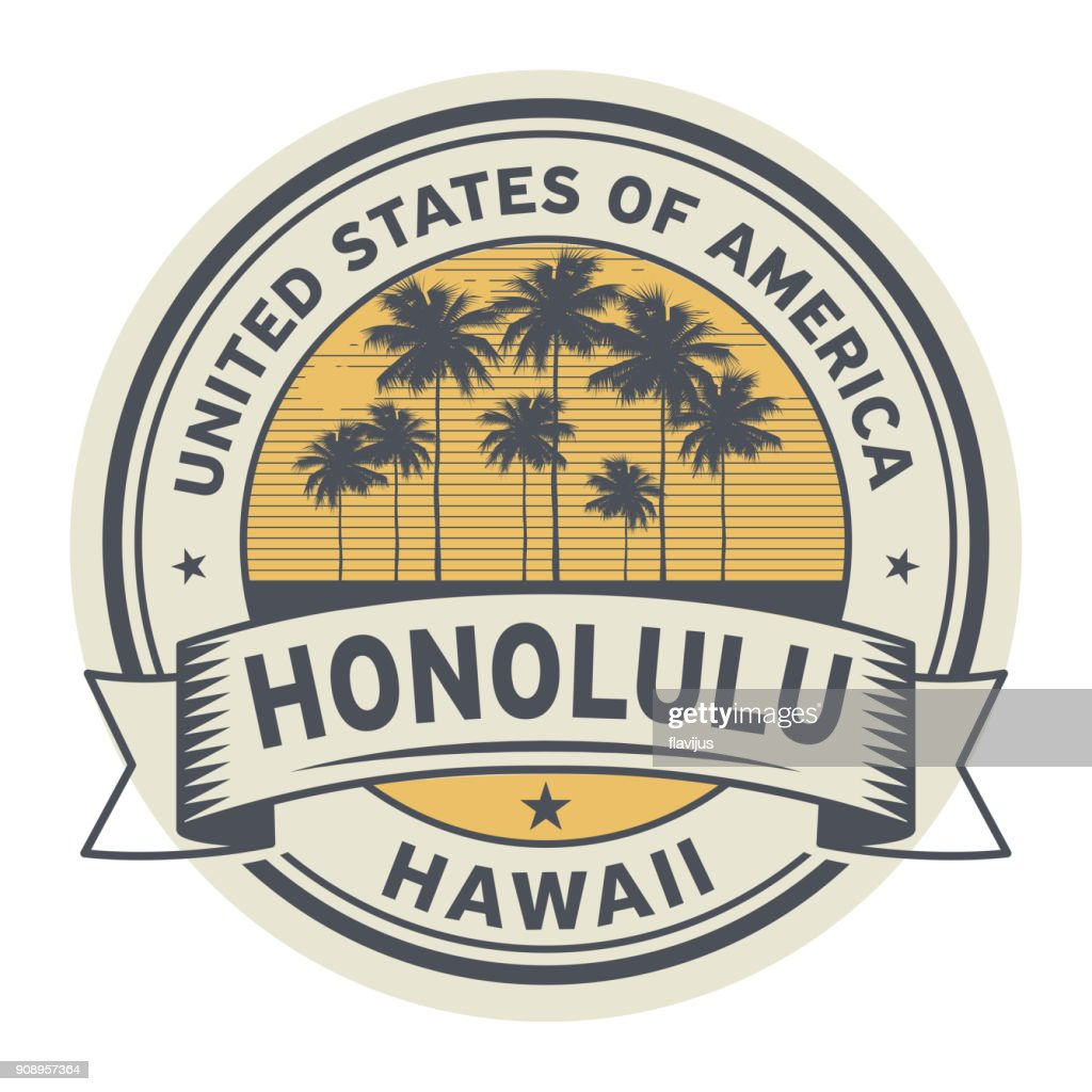 Stamp or label with name of Hawaii, Honolulu