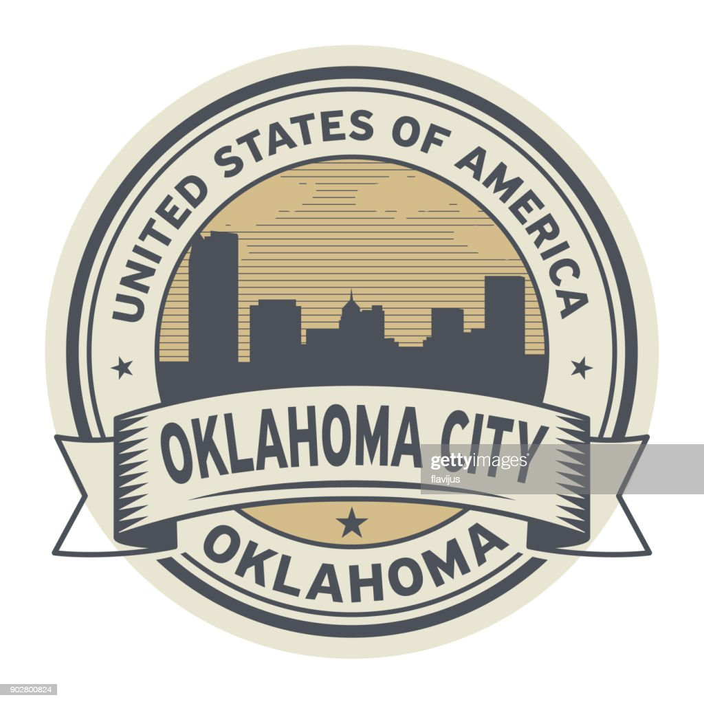 Stamp or label with name of Oklahoma, Oklahoma City