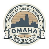 Stamp or label with name of Omaha, Nebraska