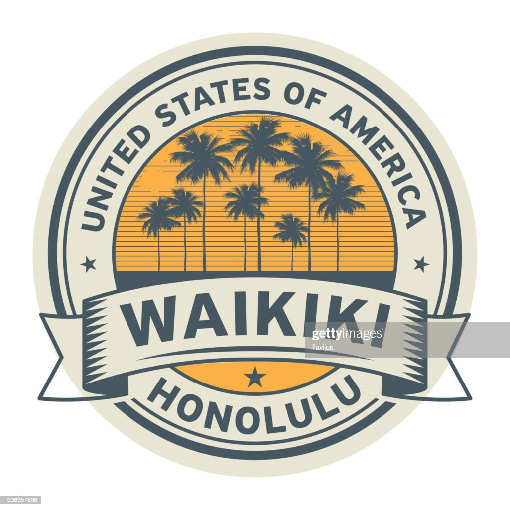 Stamp or label with name of Waikiki, Honolulu