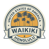 Stamp or label with name of Waikiki, Honolulu
