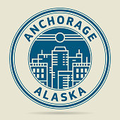 Stamp or label with text Anchorage, Alaska