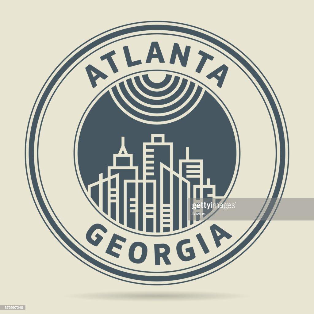 Stamp or label with text Atlanta, Georgia
