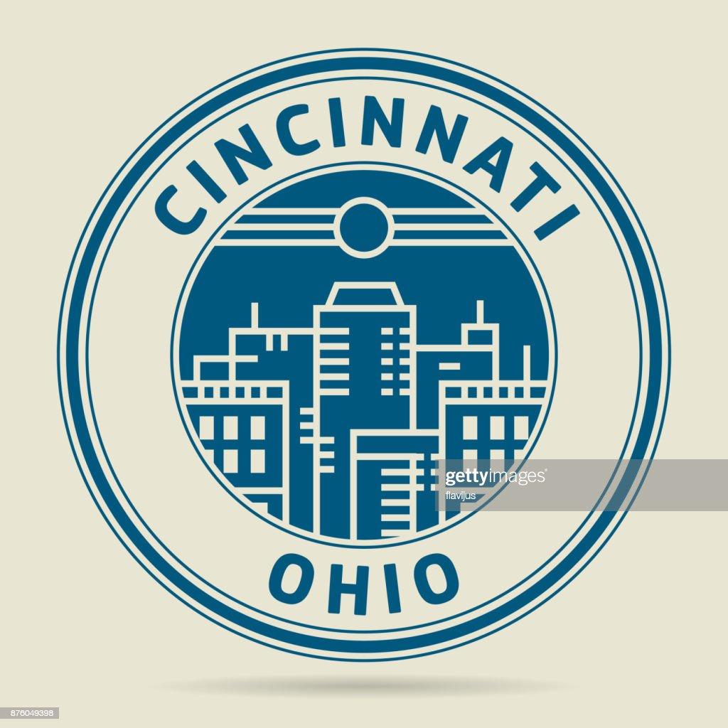 Stamp or label with text Cincinnati, Ohio